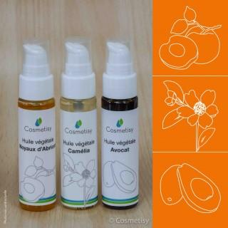Découverte des huiles végétales Noyaux d'Abricot / Camélia / Avocat