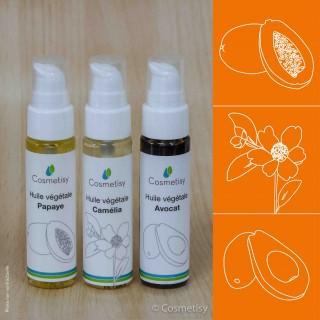 Découverte des huiles végétales Papaye / Camélia / Avocat