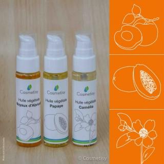 Découverte des huiles végétales Noyaux d'Abricot / Papaye / Camélia