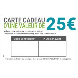Carte cadeau 25€ à télécharger